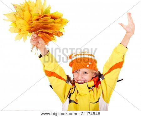 Girl in autumn orange  hat with  maple  leaf group. Isolated.