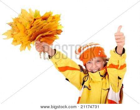 Girl in autumn orange hat with leaf group thumb up. Isolated.