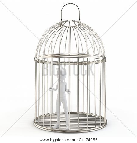 3D Man Prisoner In A Silver Bird Cage