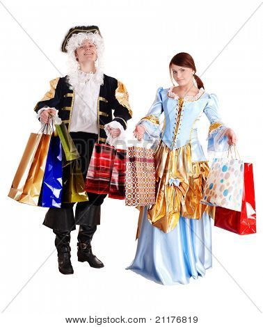 Girl and man in ancient dress with gift bag shopping. Isolated.