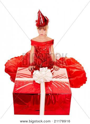 Birthday child girl in red dress with gift box. Isolated.