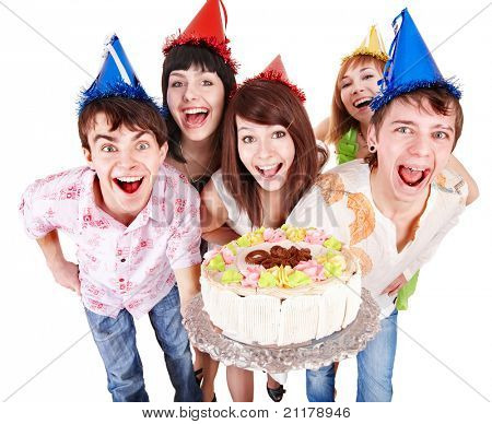 Group of people in party hat with cake. Isolated.