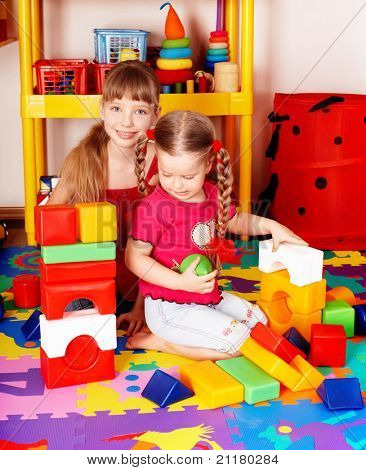 Child play block and construction set . Preschooler.