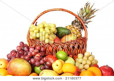 Group of colour fruit in basket. Isolated.