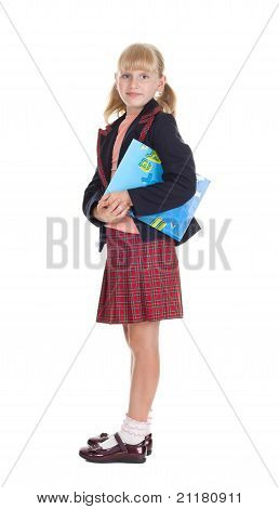Happy Schoolgirl With A Book Isolated On White