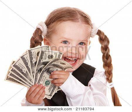 Niña feliz con dólares de dinero. Aislado.