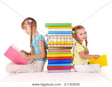 Children reading pile of book. Isolated.