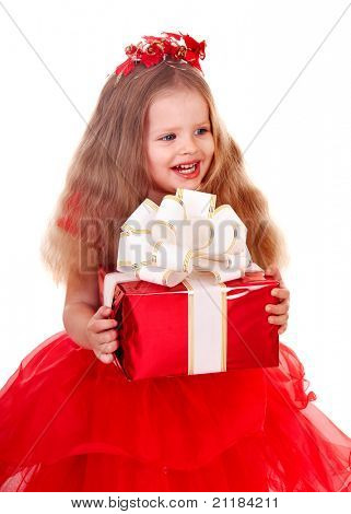 Little girl in red dress with gift box. Isolated.