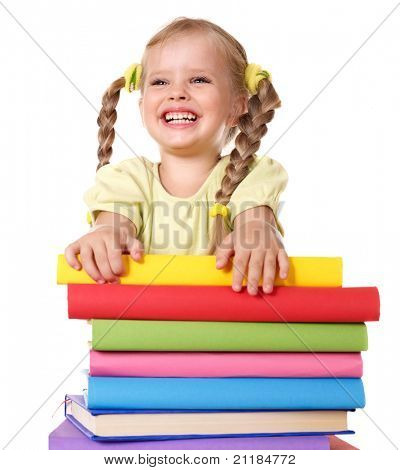 Little girl holding pile of books. Isolated.