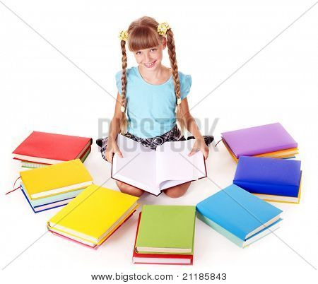 Child with pile of books  reading on floor. Isolated.