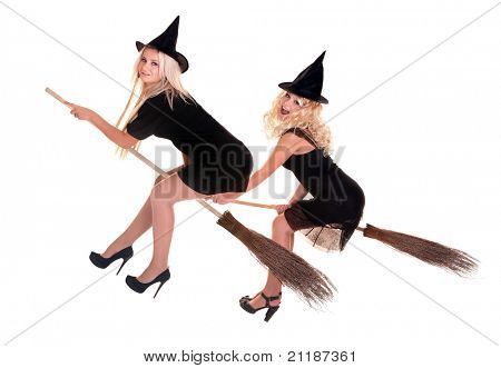 Group Halloween witch blond in black costume and hat fly on broom.Isolated.