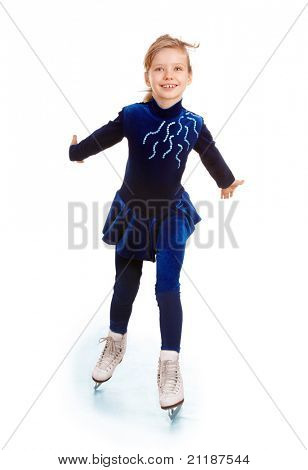 Girl in blue sport dress on skates.Isolated.