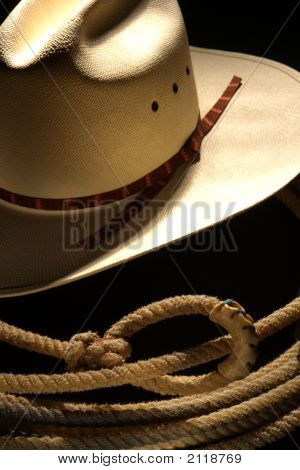 Chapéu de Cowboy de rodeio do oeste americano e laço Lariat