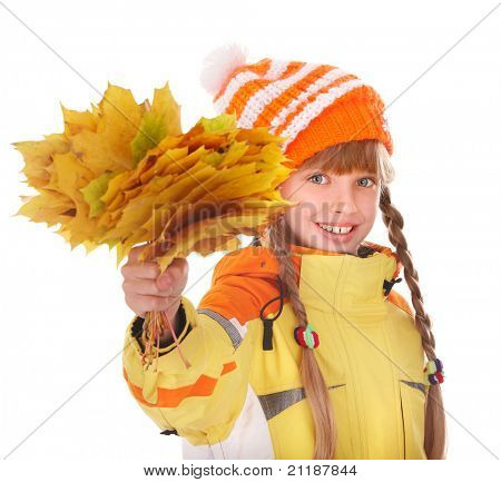 Girl in autumn orange hat holding leaves. Isolated.