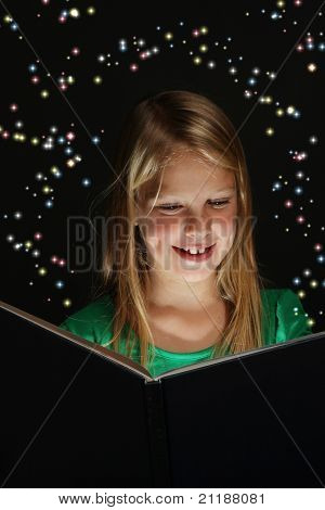 Young Girl Reading A Fantasy Book