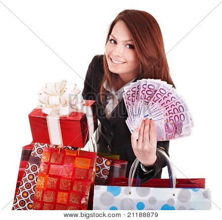 Young woman holding euro money, and gift box,. . Isolated.