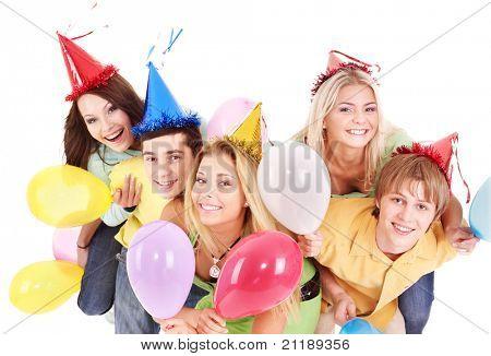 Gruppe von Jugendlichen in Party Hat Ballon halten. Isoliert.