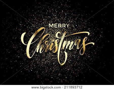 merry christmas greeting card vector golden confetti glitter black new year background picture