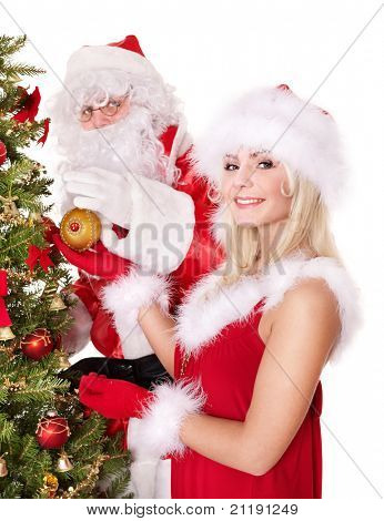 Santa claus and girl decorating christmas tree. Isolated.