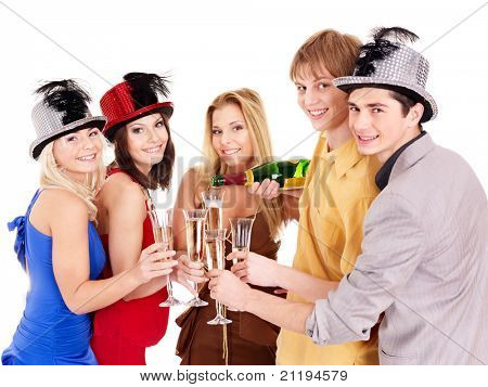 Group young people in party hat drinking champagne. Isolated