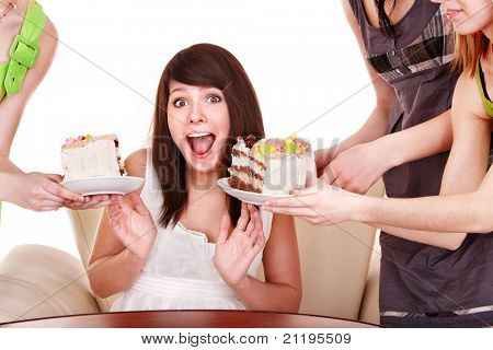 Girl refuse to eat pie. Isolated.