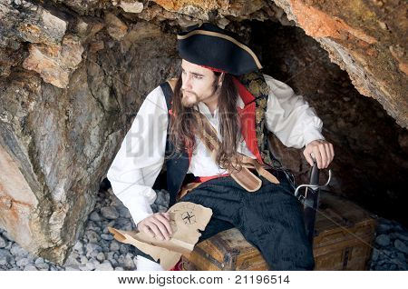 Pirate Siting On Treasure Trunk