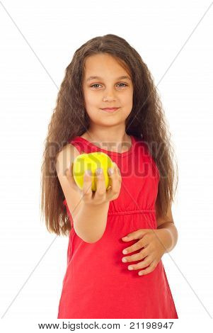 Beauty Girl Offering Apple