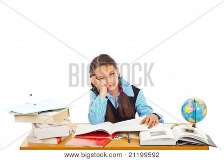 Bored Schoolgirl With Many Books