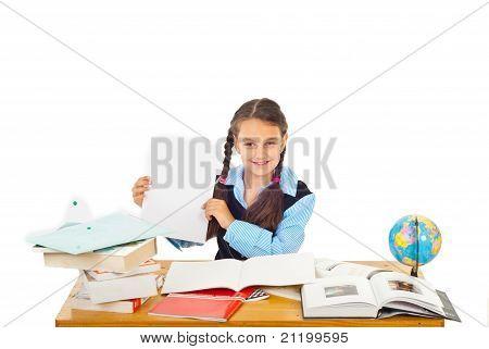 Happy Schoolgirl Show Paper With A+