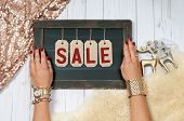 Holiday Sale. Female Hands With Jewelry. Fashion Accessories poster
