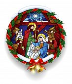 Round stained glass with the Christmas scene in holly wreath frame with gold bells. Christmas greeti poster
