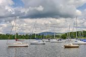 image of sail-boats  - Moored boats at Bowness - JPG