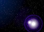 stock photo of outer core  - space abstract image with distant stars and a near by explosion - JPG