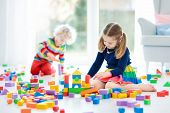 Kids Play With Toy Blocks. Toys For Children. poster