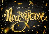Happy New Year Lettering Greeting Card For Holiday poster