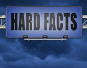 hard facts or proof, scientific proven fact and truth, road sign billboard. 3D, illustration  poster