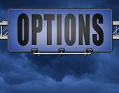 Options different opportunities possibilities and alternative strategies, road sign,  bilboard. 3D,  poster