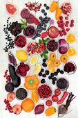 Super food healthy eating concept with health promoting properties of fruit and vegetables high in a poster
