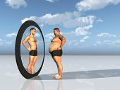pic of obese man  - Man sees other self in mirror - JPG