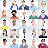 Portrait of Multiethnic Mixed Occupations People poster