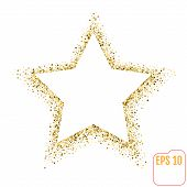 Golden Star Vector Banner On White Background. Gold Glitter Star poster
