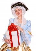 stock photo of marquise  - Woman in ancient dress of marquise with gift box - JPG