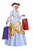 image of marquise  - Woman in ancient dress of marquise with gift bag - JPG