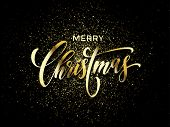 Merry Christmas Greeting Card Vector Golden Confetti Glitter Black New Year Background poster