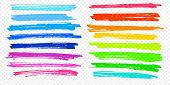 Highlight Brush Stroke Set Vector Color Marker Pen Lines Underline Transparent Background poster
