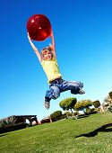 image of children playing  - Children playing in park with ball - JPG