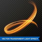 Light Line Gold Swirl Effect. Vector Glitter Light Fire Flare Circle Trace poster