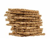 image of wasa bread  - Stack of rye crispbread isolated on white background - JPG