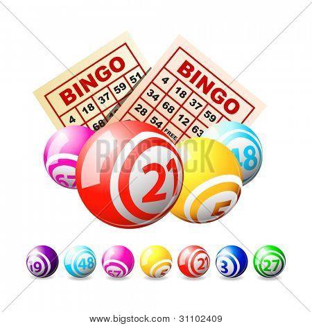 Bolas de bingo ou loteria e cartões.