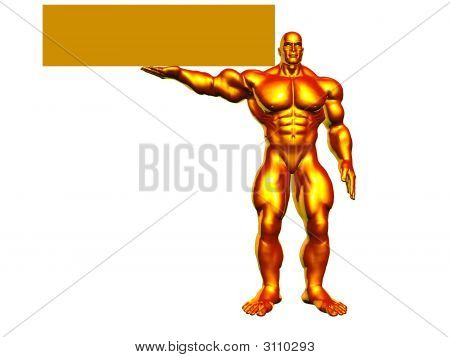 Golden Hercules With Sign